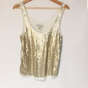 American Eagle Small/Petite Gold Sequined Tank Top